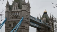 Two big towers connected by a bridge in London video
