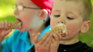 Two boys have fun eating ice cream. video