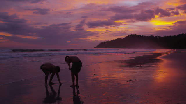 Two boys running on beach at sunset video
