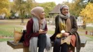 Two British Muslim Women On Lunch Break Meet In Urban Park video