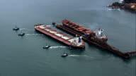 Two Bulk Carriers At Terminal Portuario Da Ilha Guaiba  - Aerial View - Rio de Janeiro,Brazil video