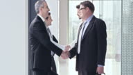 SLO MO Two business teams shake hands in hallway video
