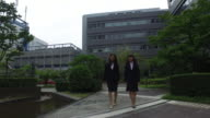 Two business women walking together at the business centre video