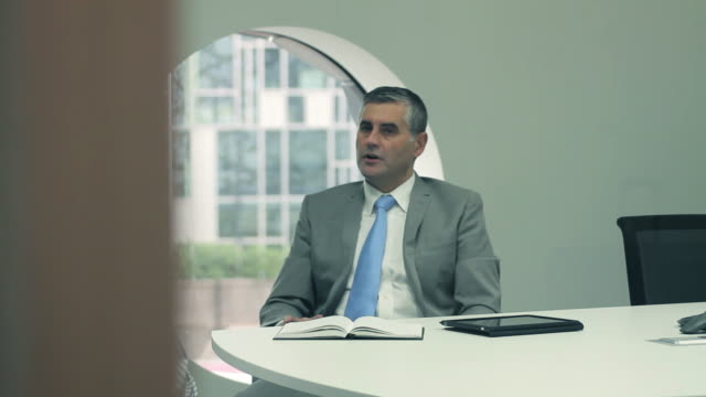 Two businessmen meeting in office video