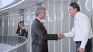 DS Two businessmen meeting in the corporate hallway video