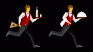 Two cartoon russian waiters running with balalaika, vodka and food video