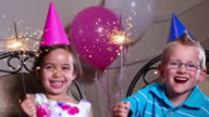 Two children at a birthday party video