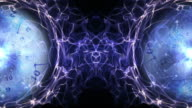 Two Clocks and Tunnel in Fibers Ring, Time Travel Concept, Background, Loop video