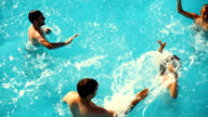 Two couples at swimming pool. video