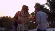 Two couples on a rooftop making a toast at sunset, shot R3D video