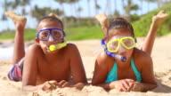 Two cute kids wearing scuba gear video
