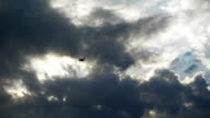 Two drone hovered in the background of the sky. Modern technology in operation video