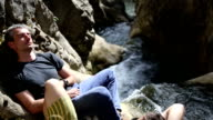 two explorers friend resting and enjoying nature video