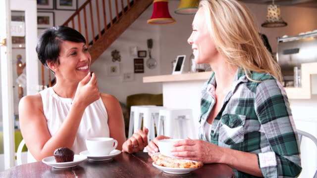 Two female friends talking at a table in a cafe video