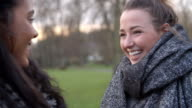 Two Female Friends Walking Through Park In Winter video