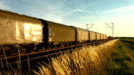 Two Freight Trains Meeting In The Evening (4K/UHD to HD) video