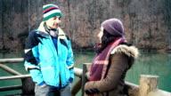 HD: Two Friend Talking Outdoors video
