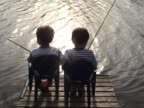 Two friends fishing video