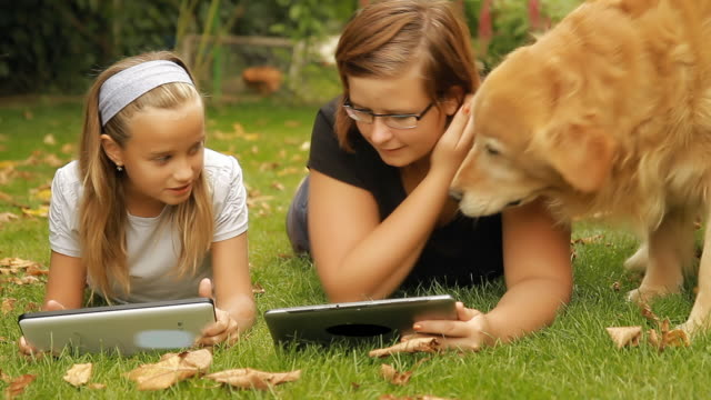 HD DOLLY: Two Girls And Dog On The Backyard video