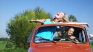 Two girls driving car video
