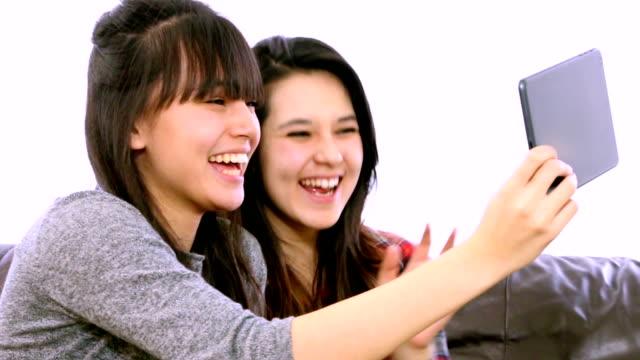 Two girls, Skype.webcam - Stock Video video