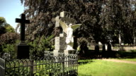 Two graves - Cemetery Angel and cross video
