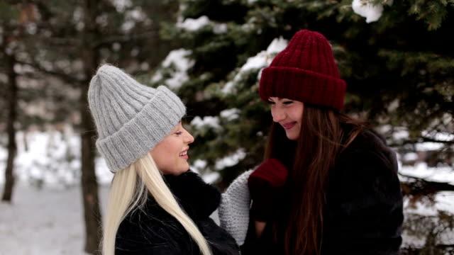 Two happy girlfriends walking in winter Park. video