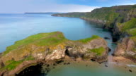 Two islands in Carrick-a-Rede Rope Bridge in Ireland video
