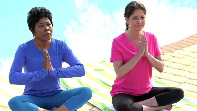 Two mature women practicing yoga video