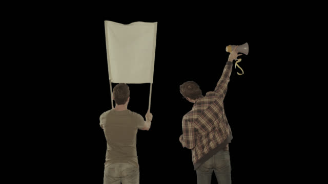 Two men in a protest. Isolated clip alpha channel available in 4k version video