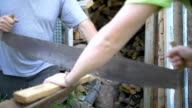 two men sawing wood, saw Russian friendship, slow motion video