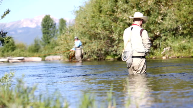 Two people fly fishing in Montana video