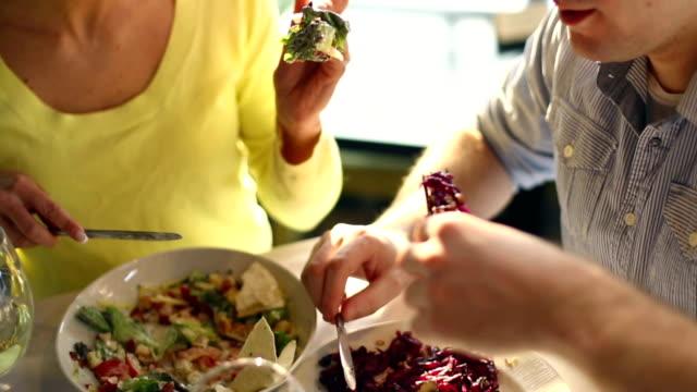 Two people having dinner. video