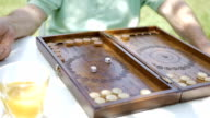 Two people playing backgammon in the garden. video