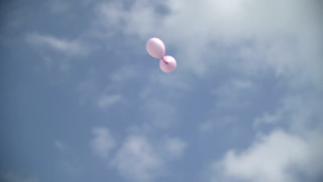WIDE SHOT LOW ANGLE Two pink balloons flying against sky video