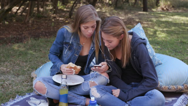Two pretty young teenage girls listening to music on their phone and having lunch in a park video