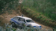 Two rally cars passing on the sandy track video