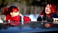 Two Redheads Gossiping And Drinking Coffee On Winter Day video