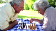 Two retired people playing chess video