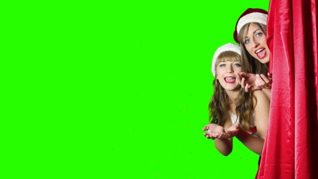 Two Santa helper's say Happy New Year video