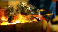 Two sea fish are cooked on barbecue. video
