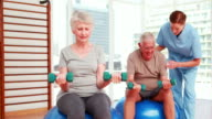 Two senior citizens exercising with physiotherapist video