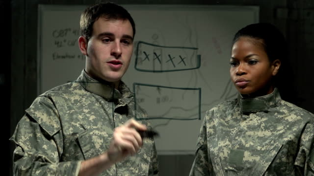 Two soldiers mapping out their strategy video