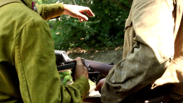 Two soldiers with machine gun. Soviet army uniform video