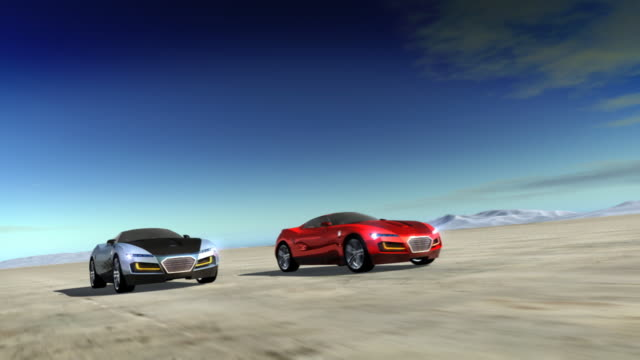 Two sports cars racing in desert. video