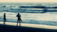 Two Surfers at Ocean Beach, San Francisco, California video