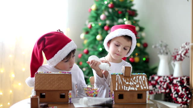 Two sweet boys, brothers, making gingerbread cookies house video
