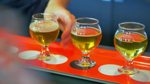 Two Tasters Placed by Hand, Craft Brewery Beer Flight, Sample Tasting video