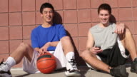Two teen boys hanging out video