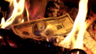 Two videos of burning money in real slow motion video
